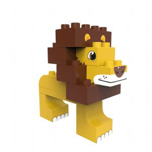 BiOBUDDi - Savanna Lion/Ostrich 2 in 1  Eco Friendly Building Block set - 11 Blocks